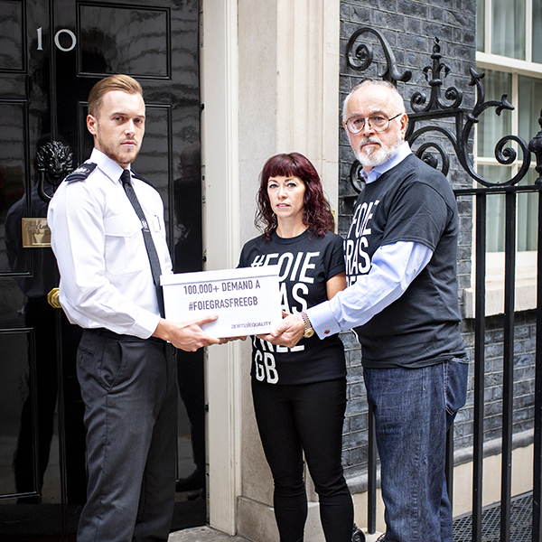 Peter Egan delivers 100,000 names demanding a #FoieGrasFreeGB to the Prime Minister