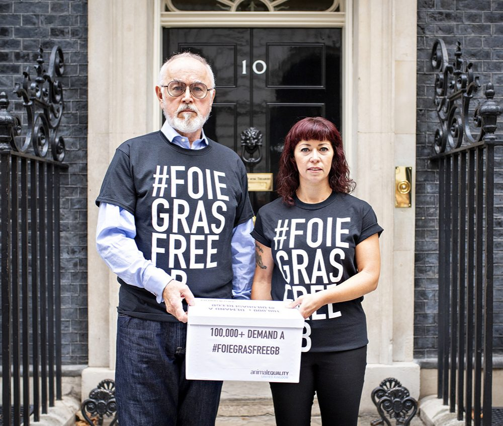 Foie Gras-Free GB Signatures Delivered to Downing Street - Animal Equality