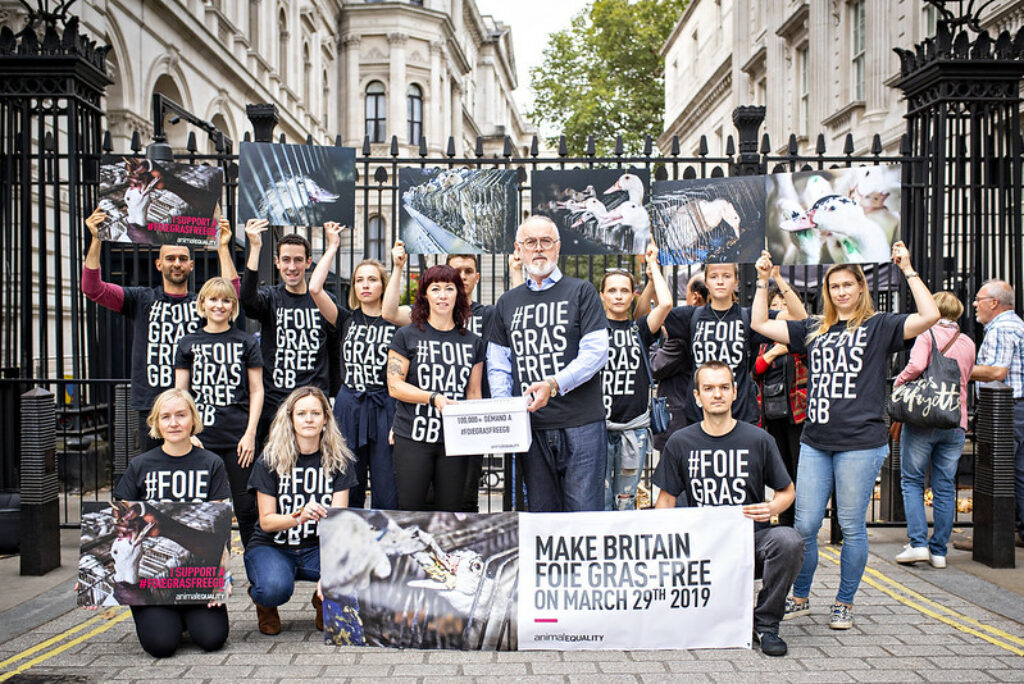 Peter Egan and Animal Equality's supporters delivering 100,000 signatures to 10 Downing Street in 2018